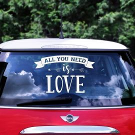 Sticker voiture mariage - All you need is Love