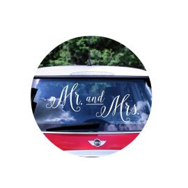 Sticker voiture mariage - Mr and Mrs
