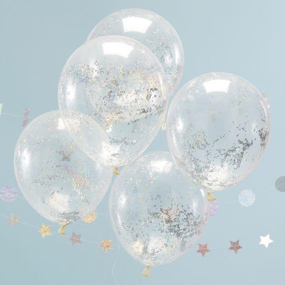 Ballon confetti paillettes holographiques (par 5)
