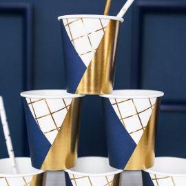 Assiettes jetables bleu marine et or (par 6)