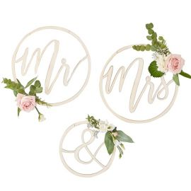 Déco mariage Mr & Mrs en bois