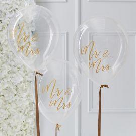 Ballons Mr Mrs (par 5) - or