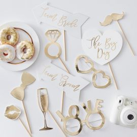 Accessoires photobooth mariage - or