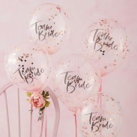 Ballons confettis EVJF - Team Bride (par 5)