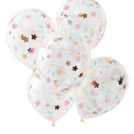 Ballons confettis fleurs pastel et or (par 5)