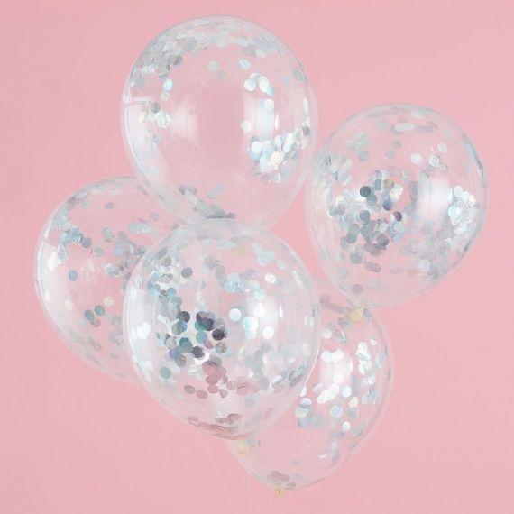 Ballon confettis holographiques (par 5)