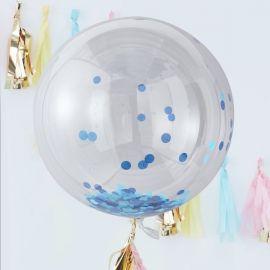 Ballons confettis géant bleu (par 3) - 90 cm