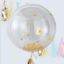 Ballons confettis géant or (par 3) - 90 cm