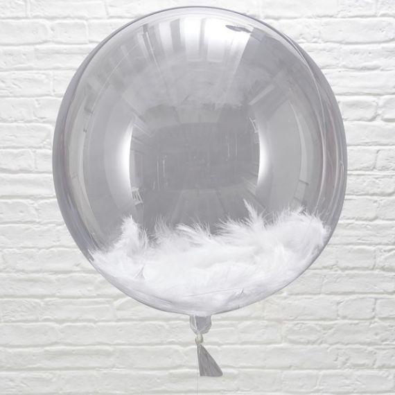 Ballons transparents avec plumes (par 3) - 45 cm