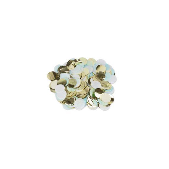Confettis bleu ciel blanc or - 3 couleurs