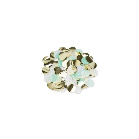 Confettis vert menthe blanc or