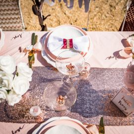 Chemin de table sequins rose gold