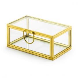 Boîte à alliances en verre et métal or