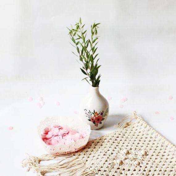 Petit vase céramique motif floral