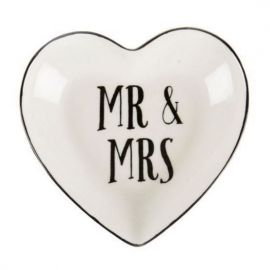Porte alliances Mr & Mrs - coeur