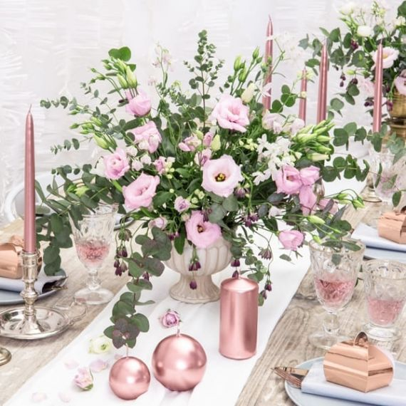 Bougies piliers - rose gold