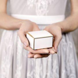 Boîtes cadeaux - blanc et or (par 10)