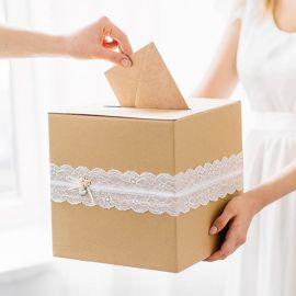 Urne mariage kraft et dentelle