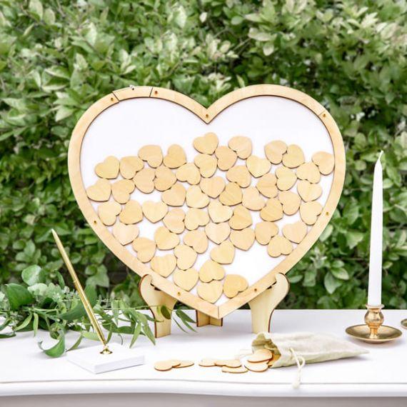 cadre Livre d'or en bois - Coeurs