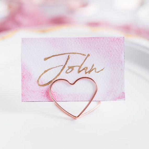 Porte marque place coeur - rose gold