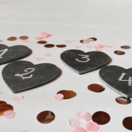 Numéros de table ardoise coeur x 12