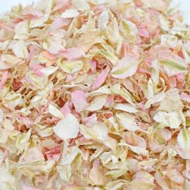 Confettis de fleurs biodégradables - blanc et rose