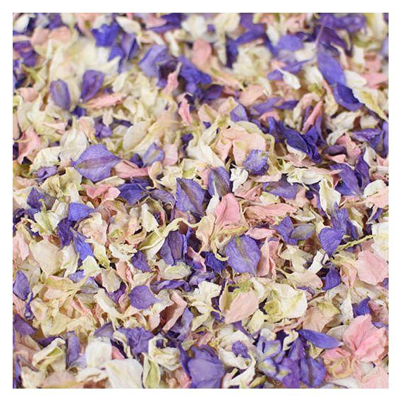 Confettis de fleurs biodégradables - violet rose et blanc