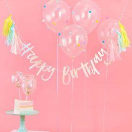 Guirlande anniversaire iridescente et tassels pastel