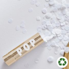Mini canon à confettis blancs - biodégradable