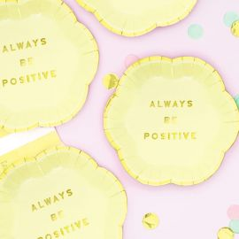 Assiettes Always be Positive - jaune