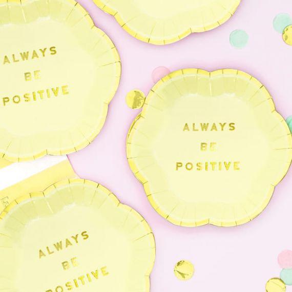 Assiettes Always be Positive - jaune