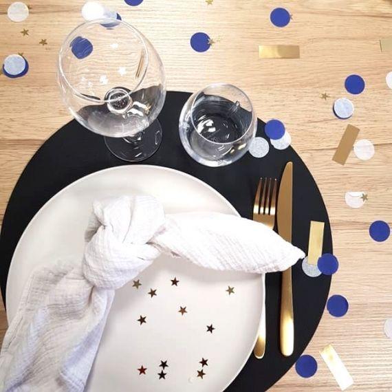 Confettis or, bleu, blanc