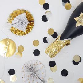 Confettis noir, blanc et doré