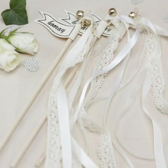 10 baguettes mariage à clochette et rubans
