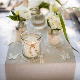 Chemin de table en coton - Vieux rose