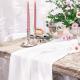 Chemin de table en mousseline coton - blanc