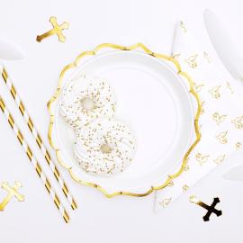 Assiettes jetables blanches et gold x6