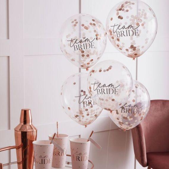 Ballons confettis EVJF rose nude x 5
