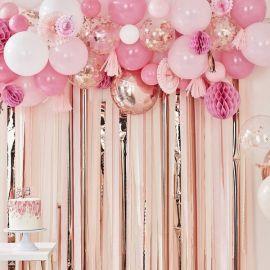 Guirlande ballons, rosaces, boules papier