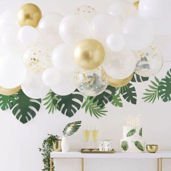 Arche de ballons en kit - Blanc et or