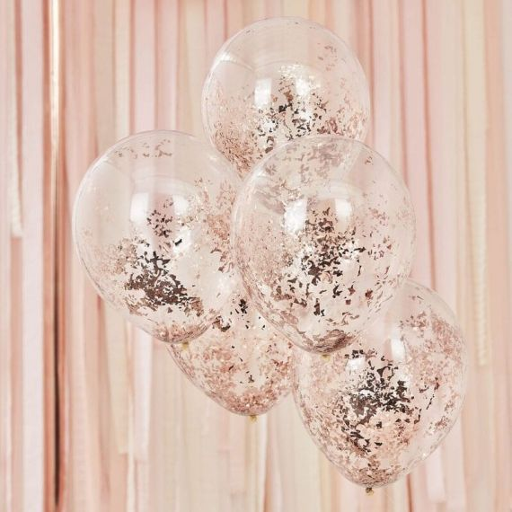 Ballon confettis rose gold x5