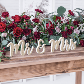 Inscription Mr & Mrs en bois
