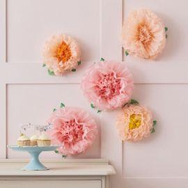 Fleurs géantes en papier rose et pêche x5