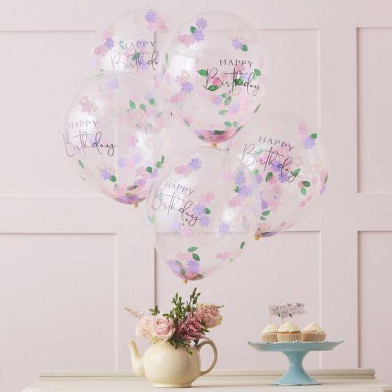 Ballons confettis Happy Birthday (par 5)