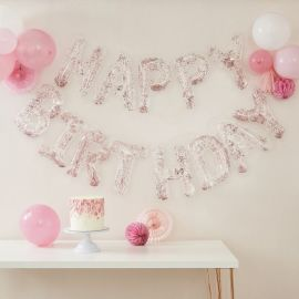 Ballons lettres confettis rose gold Happy Birthday