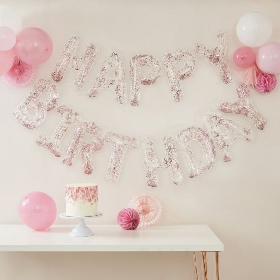 Ballons lettres Happy Birthday rose gold