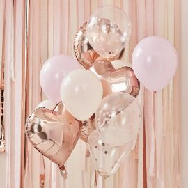 Bouquet de ballons confettis rose gold, rose et blanc
