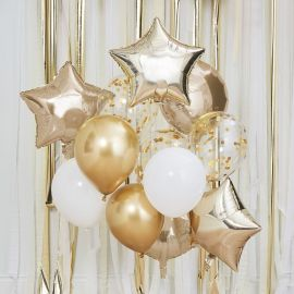 Bouquet de ballons or et blanc