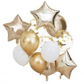 Bouquet de ballons or et blanc