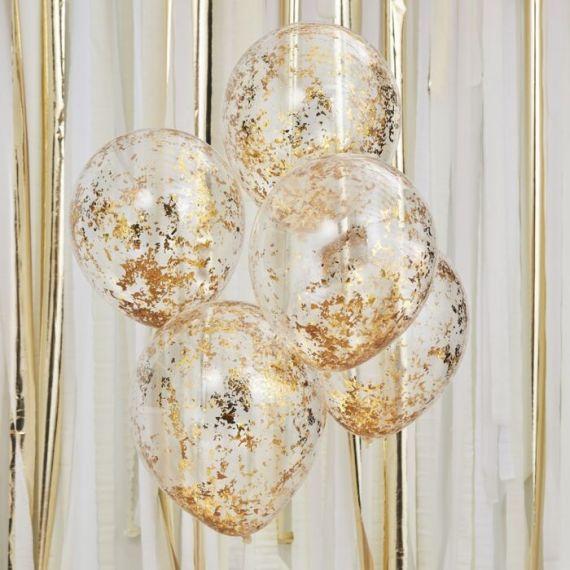 Ballon confettis originaux or x5